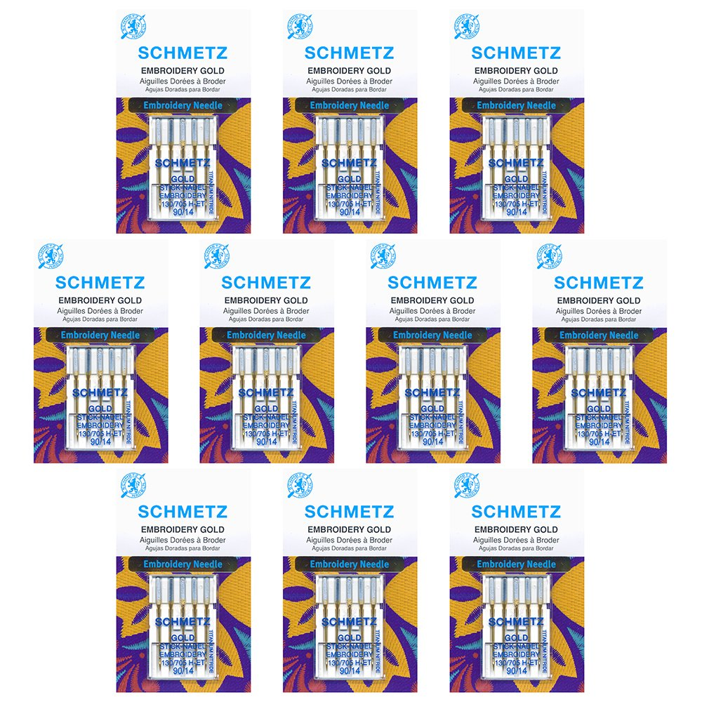 50 Schmetz Gold Embroidery Sewing Machine Needles - size 90/14 - Box of 10 cards by Schmetz