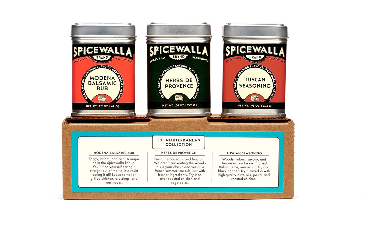 Amazon Com Spicewalla Mediterranean Spices Collection 3 Pack Tuscan Seasoning Herbs De Provence Modena Balsamic Rub Spice Blend Grocery Gourmet Food
