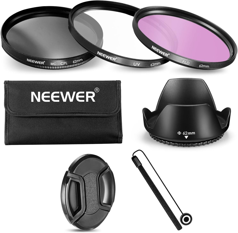 Neewer 62mm Filtro Lente Accesorios Kit para Cámaras con lente 62mm, Incluye: Filtro UV cpl FLD + Bolsa de Transporte + Parasol de Objetivo + Tapa de Objetivo + Tapa Keeper Correa: Amazon.es: Electrónica
