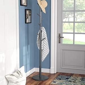 Vlush Wooden Coat Rack Free Standing, Coat Hat Tree Coat Hanger Holder Stand with Round Base for Clothes,Scarves,Handbags,Umbrella-(8 Hooks, Gray)