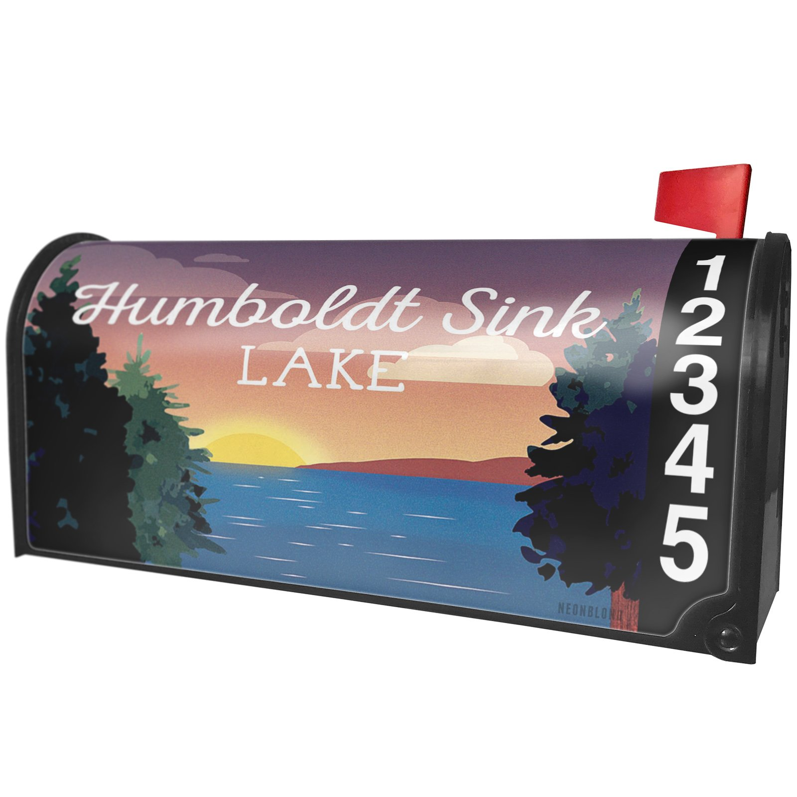 NEONBLOND Lake retro design Humboldt Sink Magnetic Mailbox Cover Custom Numbers