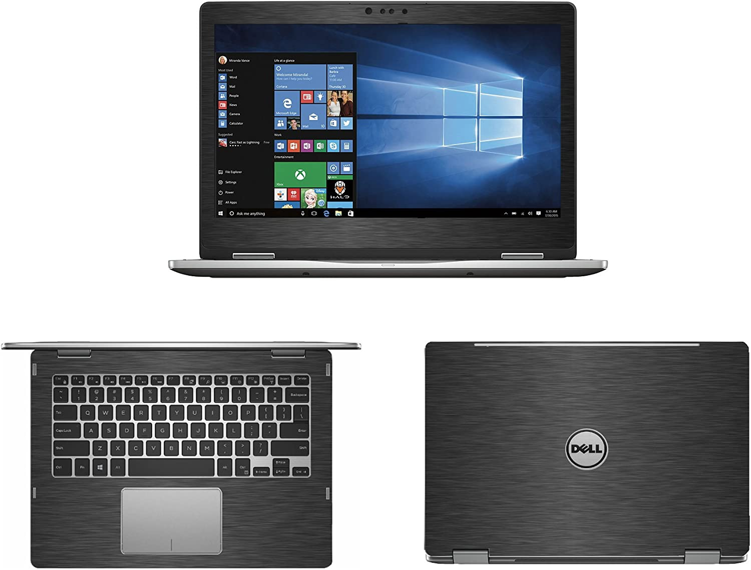 """Black Brushed Aluminum skin decal wrap skin case for Dell inspiron 13 7000 series 7368 7378 13.3"""" 2 in 1 Laptop"""