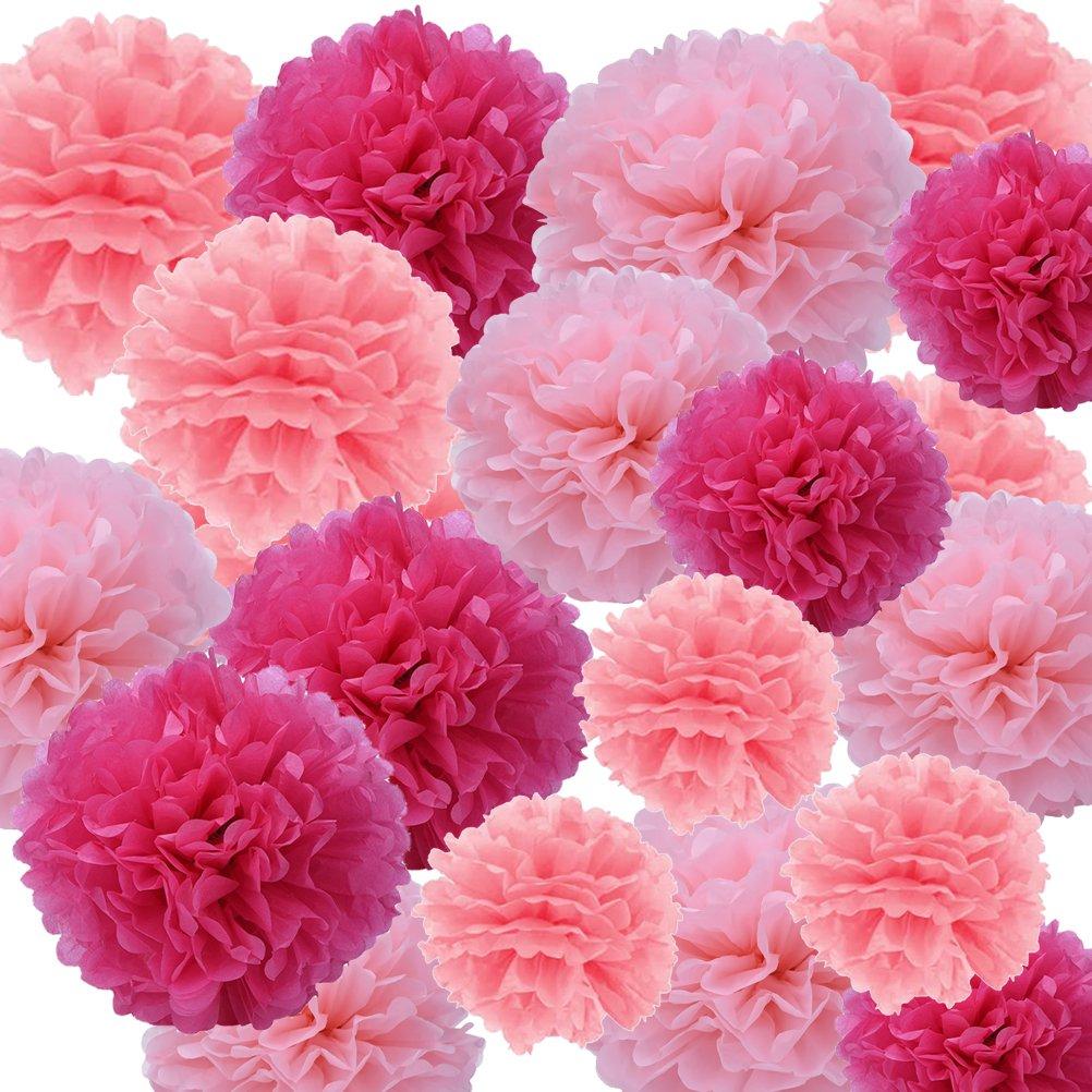 Ofoen 27 Stück Blumen Pompoms, Seidenpapier Blumen Ball Dekorpapier Kit