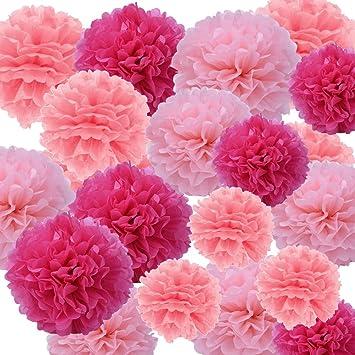 Sicai 27 Pieces Pompons En Papier De Soie Poms Fleurs Boules De