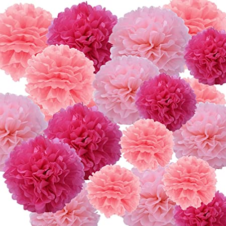 Ofoen 27 pieces tissue paper pom poms flower 8 10 12 hanging ofoen 27 pieces tissue paper pom poms flower 8 10 12 mightylinksfo