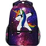 ZZKKO Space Galaxy Animal Unicorn Backpacks School Book Bag Travel Hiking Camping Daypack