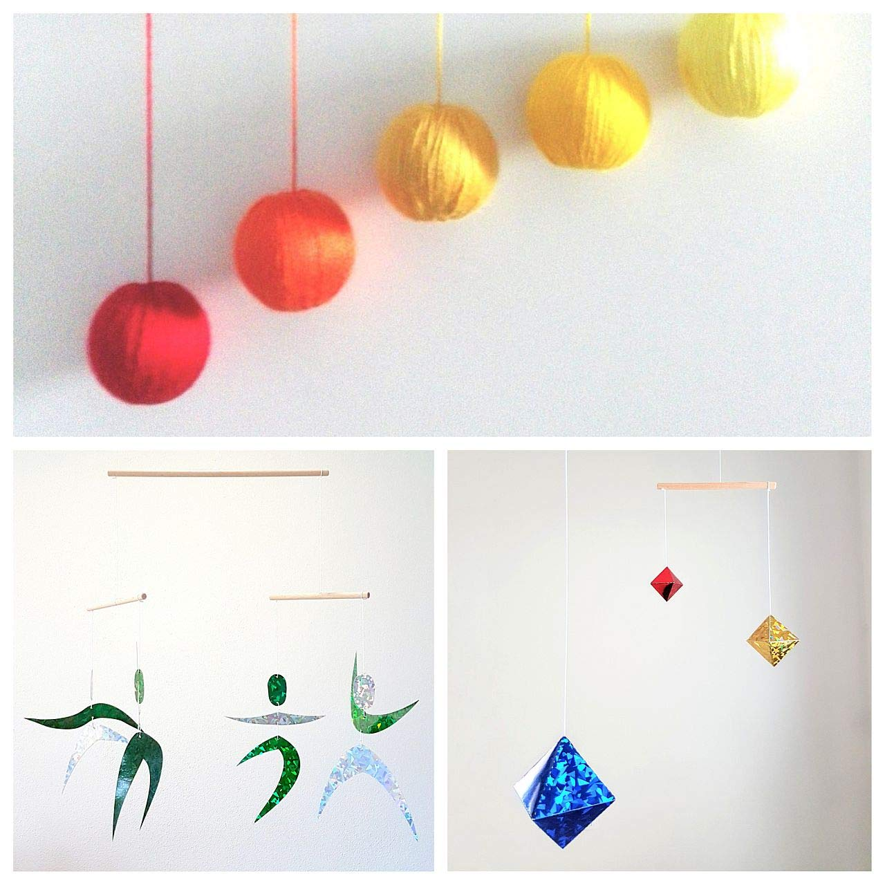 Set of 3 Montessori inspired mobiles - Orange Gobbi, Dancers, Octahedron. Montessori mobile. Baby mobile. Hanging mobile. Crib toy.
