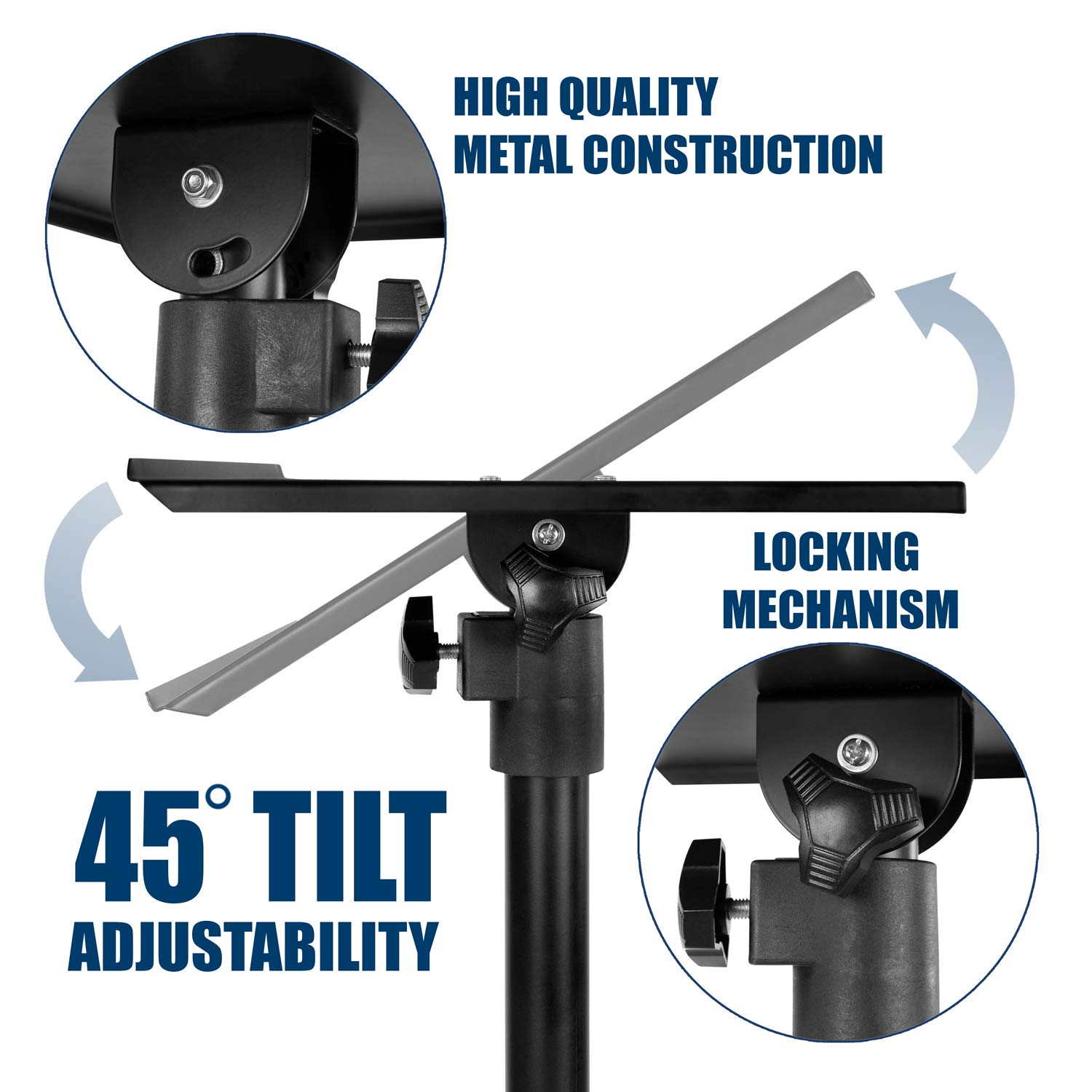 Mount-It! Tripod Projector Stand, Adjustable DJ Laptop Stand with Height and Tilt Adjustment, Portable Laptop Projector Table with Steel Tripod Base and Tray, Black by Mount-It! (Image #8)