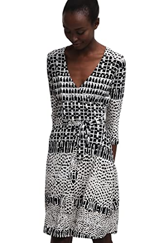 Anna Field Women's Side Tie 3/4 Sleeves Animal Print Wrap Casual Business Dress