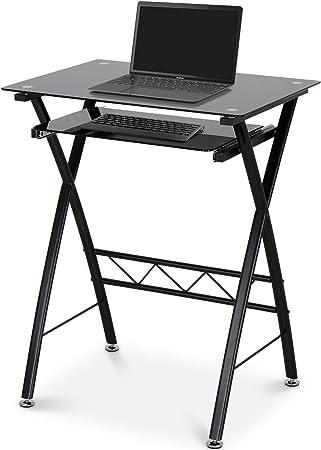 Miadomodo Petit Bureau D Ordinateur Table Informatique Meuble Pc En Verre Trempe Et Acier Amazon Fr Cuisine Maison