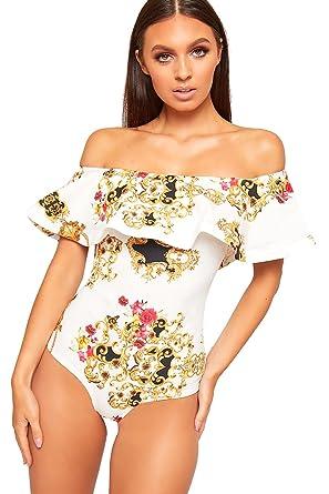 f582b854b7 WearAll Women s Baroque Scarf Print Layer Bardot Off Shoulder Bodysuit  Ladies Leotard Top - Cream -