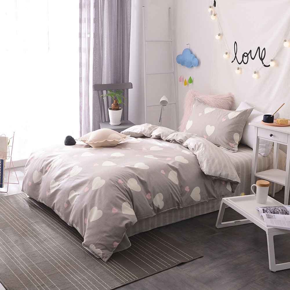 BHUSB Kids Girls Pink Duvet Cover Sets Twin Premium Cotton Love Heart Print Reversible Grey Geometric Stripe Pattern Bedding Sets with Zipper Closure for Children Boys Bedding Collection Twin BH6801T1