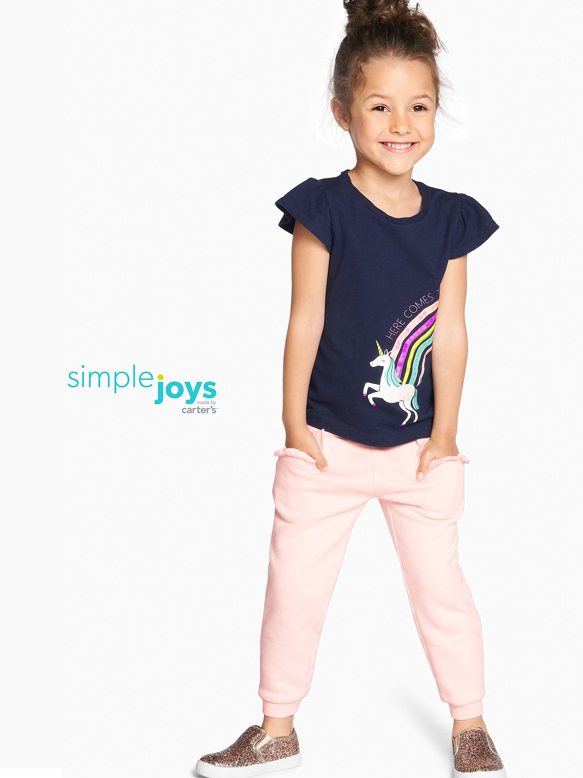Simple Joys by Carter's Girls' Toddler 2-Pack Pull on Fleece Pants, Gray/Pink, 3T by Simple Joys by Carter's (Image #2)