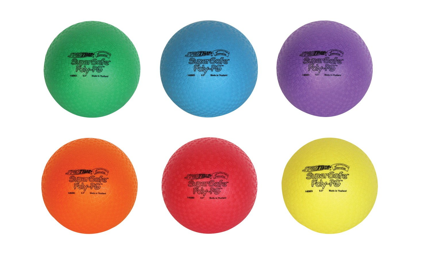 Sportime 1017307 SuperSafe PolyPG Ball - 8 1/2 inch - Set of 6 - Assorted Colors by Sportime
