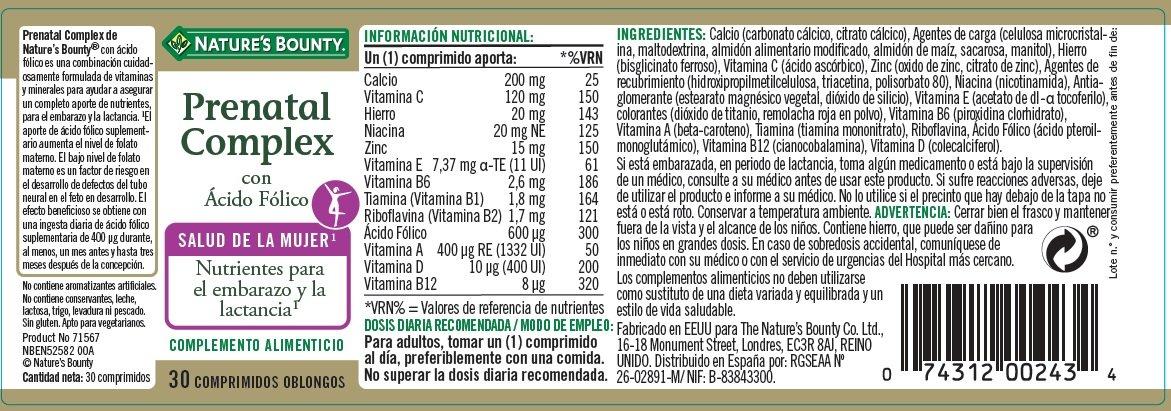 NATUREŽS BOUNTY - PRENATAL COMPLEX FOLICO 30comp NATUREŽS BOUNTY: Amazon.es: Salud y cuidado personal