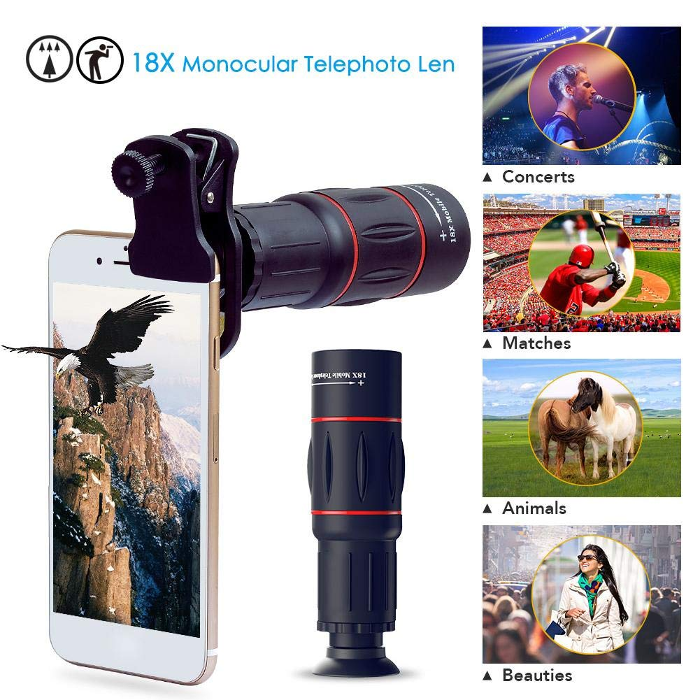 Amazon.com: Bulary Phone Photography Kit-Flexible Phone Tripod +Remote Shutter +4 in 1 Lens Kit-High Power 18X Monocular Telephoto Lens Fisheye Macro & Wide ...