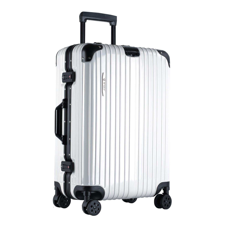 [RESENA] スーツケース アルミフレーム TSAロック搭載 大容量 軽量 8輪360度自由回転の静音キャスター 人気 キャリーケース 多色選択可能 フック付き B07DG2DH21 Mサイズ(24寸) ホワイト ホワイト Mサイズ(24寸)