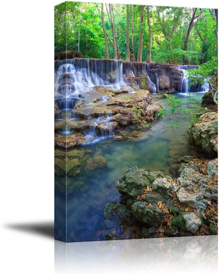 "Canvas Prints Wall Art - Deep Forest Waterfall in Kanchanaburi Province, Thailand| Modern Home Deoration/Wall Art Giclee Printing Wrapped Canvas Art Ready to Hang - 36"" x 24"""