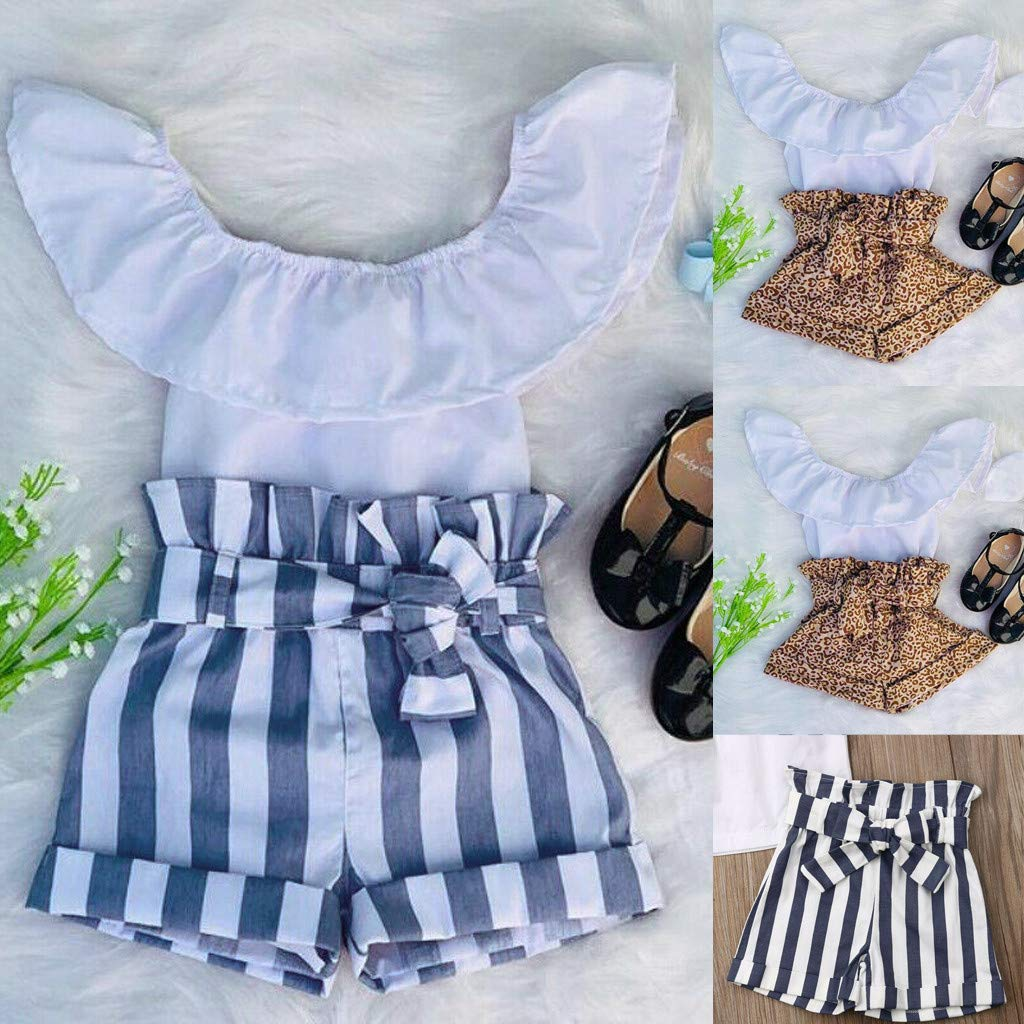 Baby Girl Off-Shoulder Sets, Kids Crop Top Ruffle Shirt Tops +Leopard Striped Shorts Pants Clothes Set (2-3 Years, Blue) by Hopwin Baby girls Suits (Image #5)