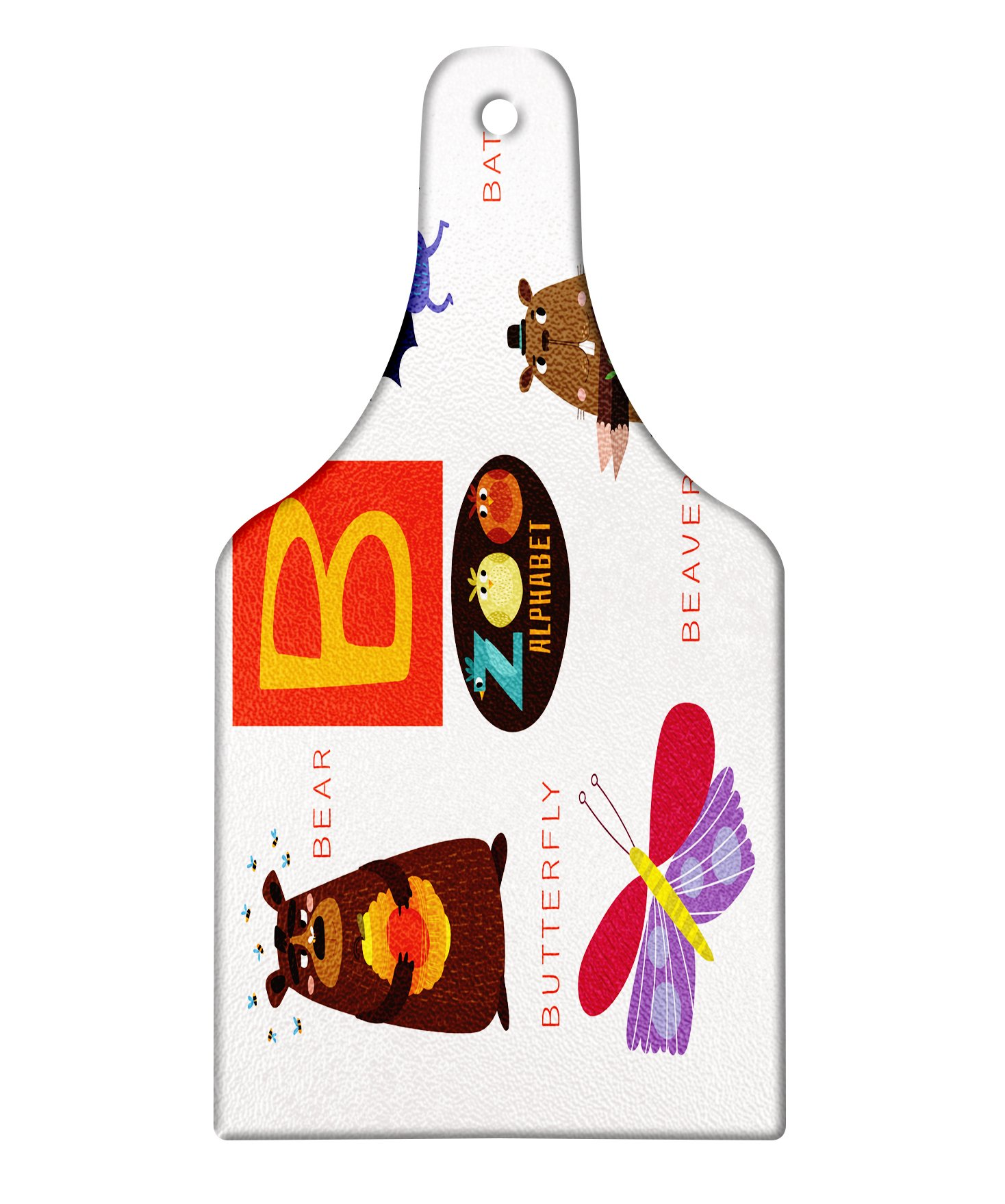 Lunarable ABC Kids Cutting Board, Letter B with Bat Butterfly Bear and Beaver Learn to Read Going to School Theme, Decorative Tempered Glass Cutting and Serving Board, Wine Bottle Shape, Multicolor