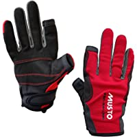 Musto Essential Sailing Long Finger Gloves in Red