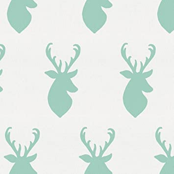 Carousel Designs Mint Deer Head Fabric By The Yard