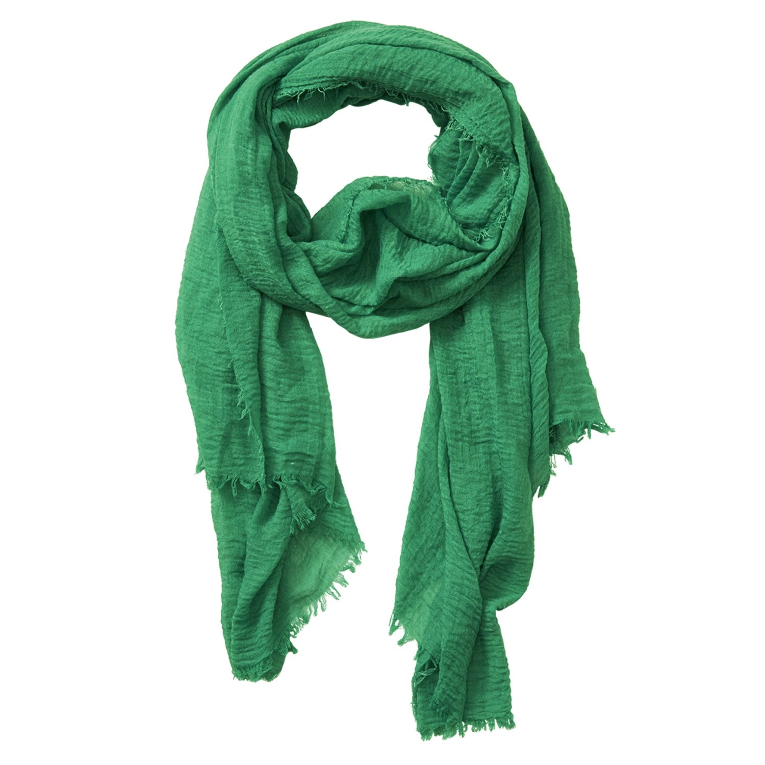 Tickled Pink Classic Soft Solid Stylish Long Lightweight Pashmina-Like Cotton Blend Scarf 38 x 70'' - Green