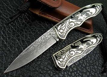 CHENPK0444 Cobre tallado Cuchillo plegable hecho a mano de acero de Damasco