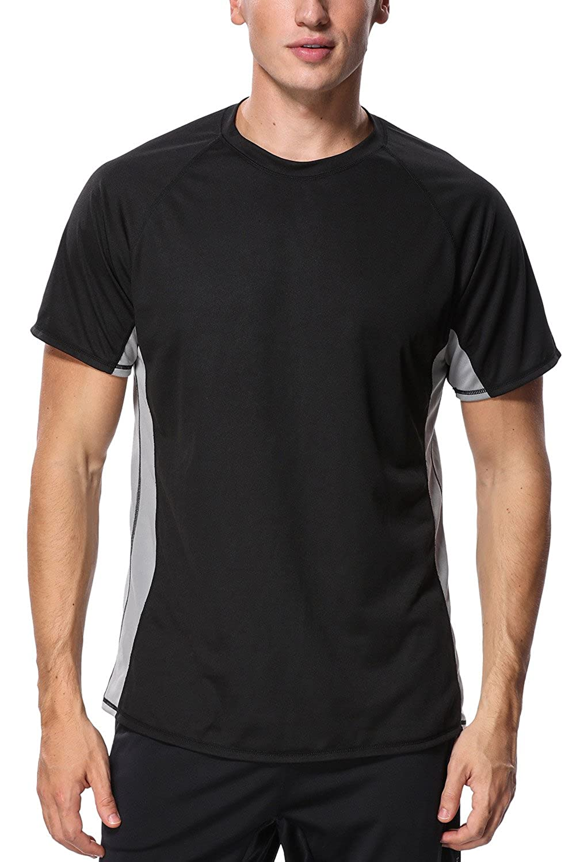 ATTRACO Men's UV Rash Vest Short Sleeve Rash Guard Shirt Swim Rashguard Top