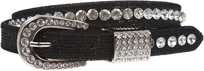Brown Kids 3//4 20 mm Western Cowgirl Rhinestone Studded Skinny Belt 28