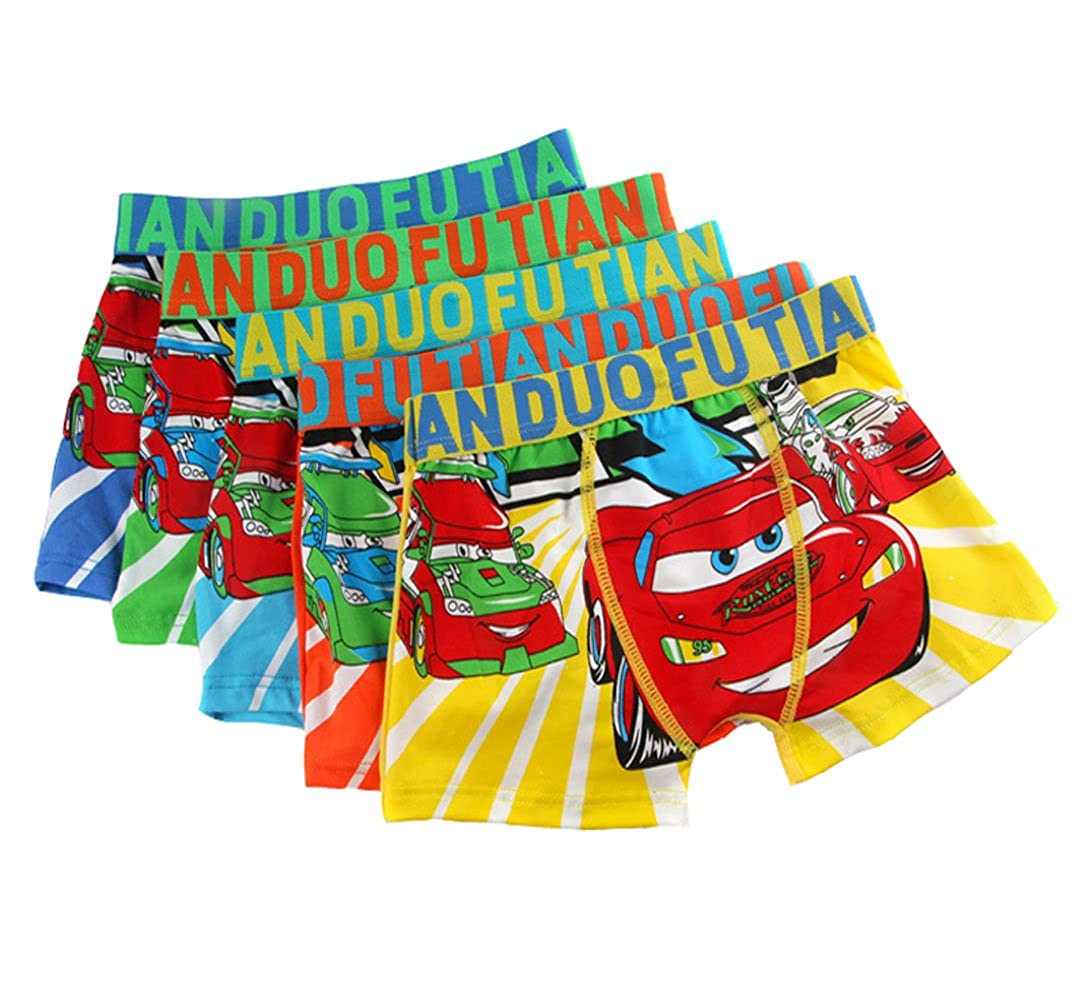 YUMILY 2-8 Years Old Boys Cotton Cars Print Boxer Briefs Underwear 5 Pack
