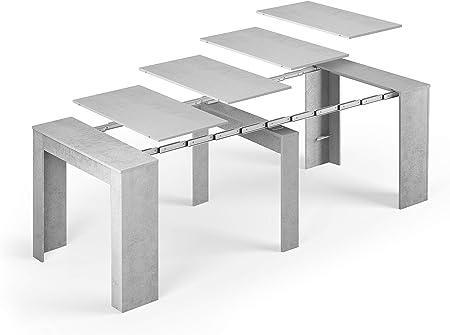 Tendencio Table Console Extensible Alga Rectangulaire Avec Rallonges Jusqu à 237 Cm Pour Salle à Manger Et Séjour Gris Béton Jusqu à 10 Personnes