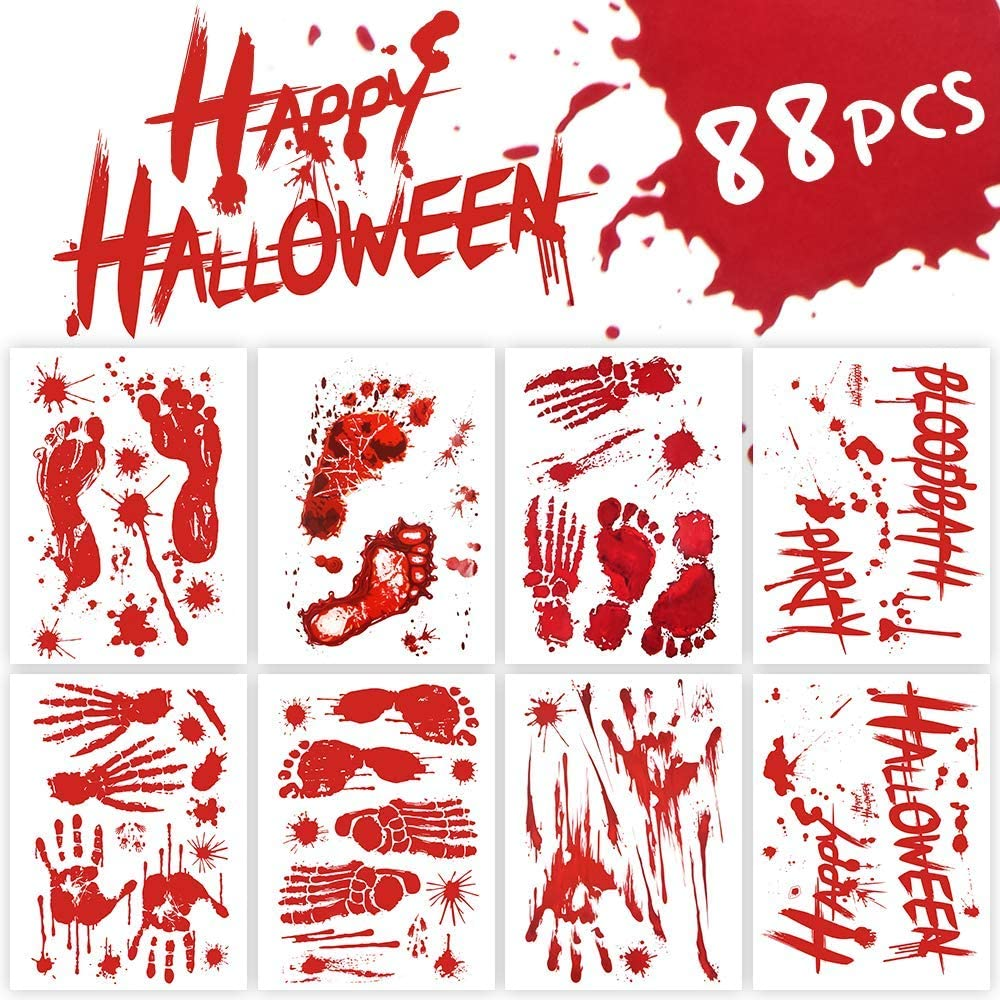 Hely Cancy Halloween Decorations Window Decals Wall Stickers Decor, 88 PCS Bloody Handprint Footprint Horror Bathroom Zombie Party Decorations Supplies,12 inches by 16 inches Sheet