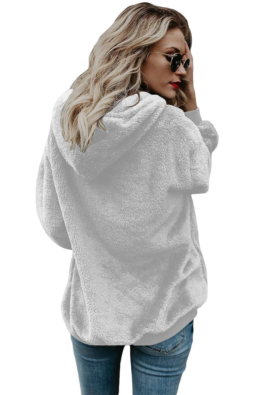 Ouregrace Womens Oversized Sherpa Long Sleeve Pullover Zip Sweatshirt Fleece Hoodies with Pockets S-XXL