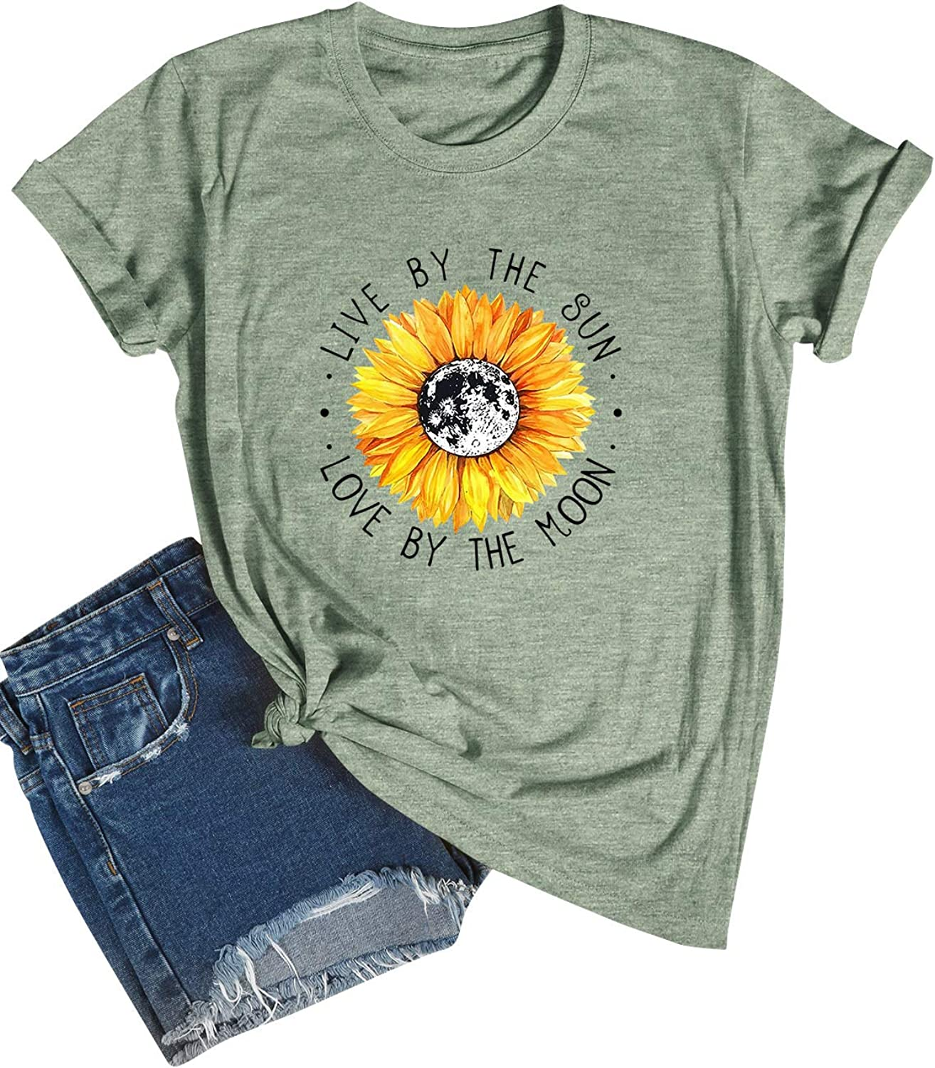 Cute Sun Moon Print Graphic Shirts for Women Casual Live by The Sun Love by The Moon Letter Printing Long Sleeve Pullover