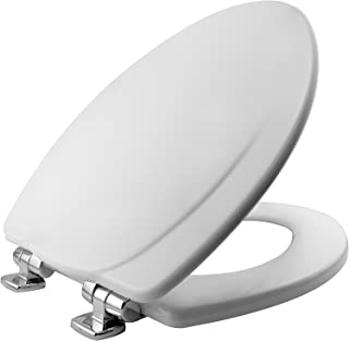 product image for MAYFAIR 1830CHSL 000 Marion Toilet Seat with Chrome Hinges will Slow Close and Never Come Loose, ELONGATED, Durable Enameled Wood, White