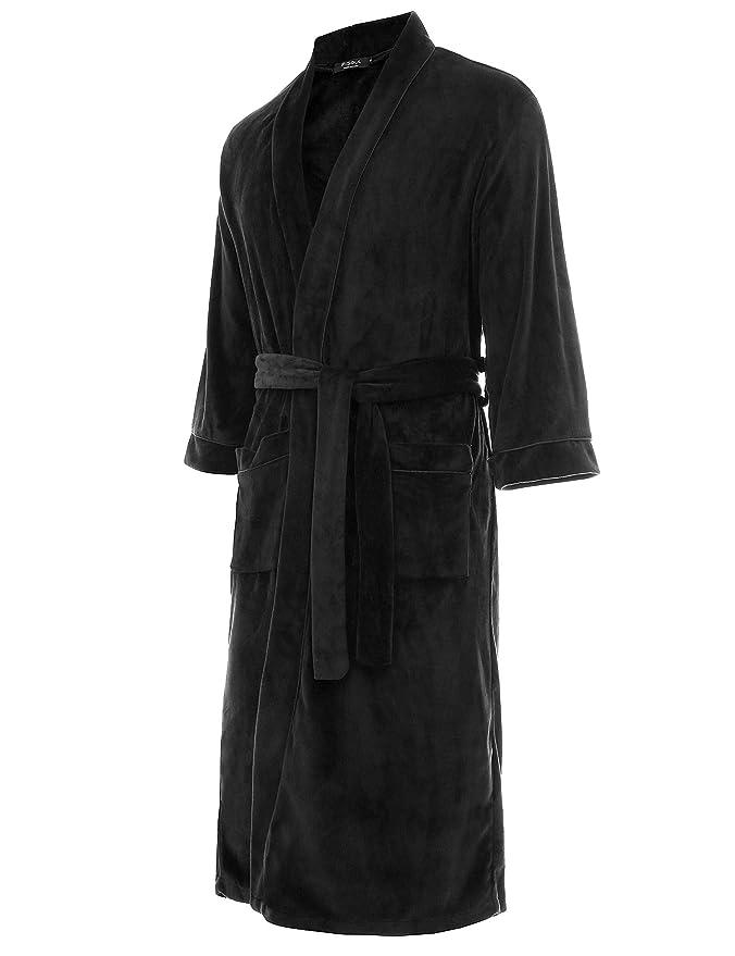 FISOUL Bata Baño para Hombre de Forro Polar Suave Cuello de Felpa Chal Kimono Batas de Lana Hombre(Black, S): Amazon.es: Ropa y accesorios
