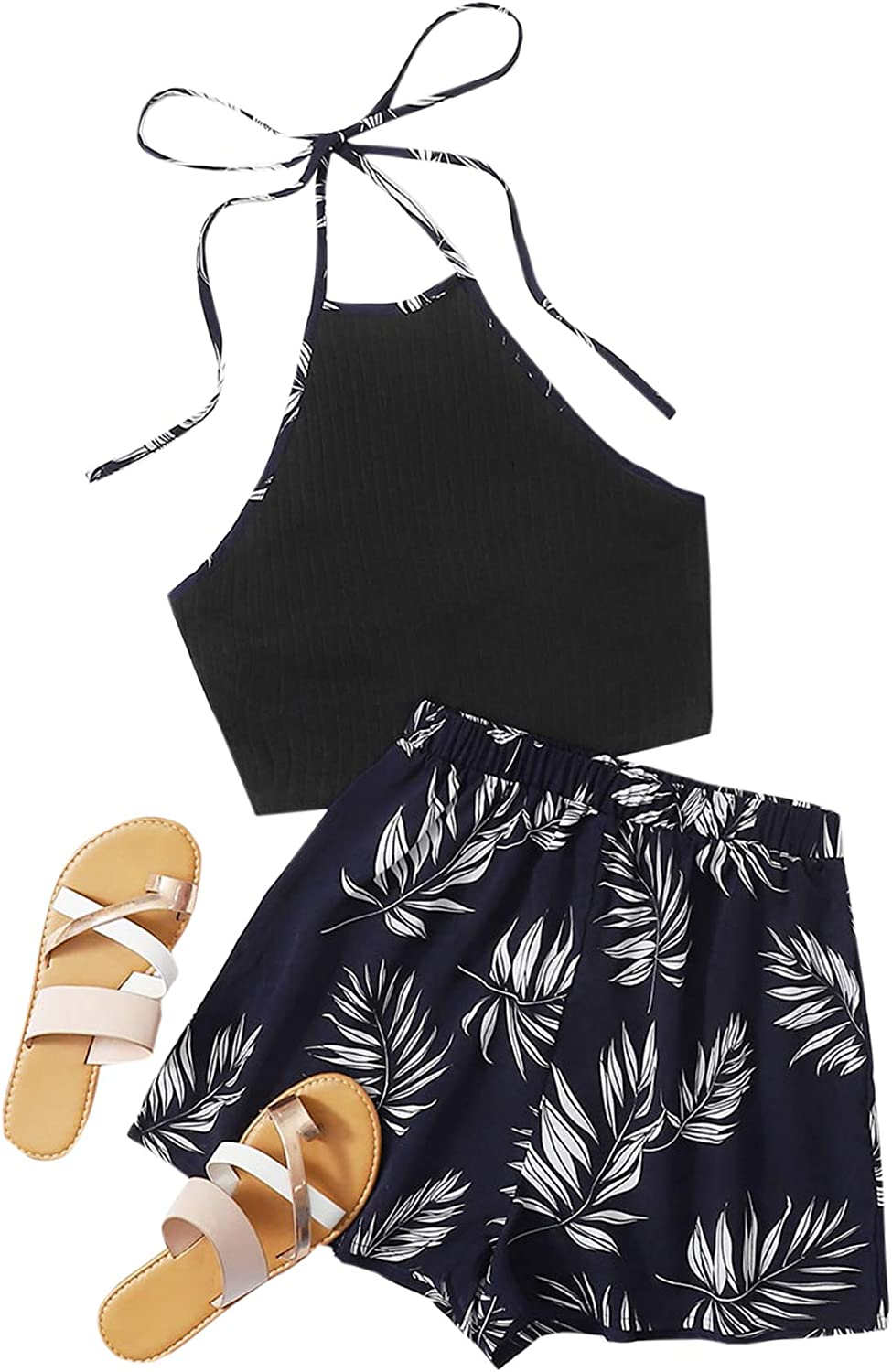 SheIn Women's Two Piece Colorblock Tie Back Halter Cami Camisole Top and Elastic Shorts Set