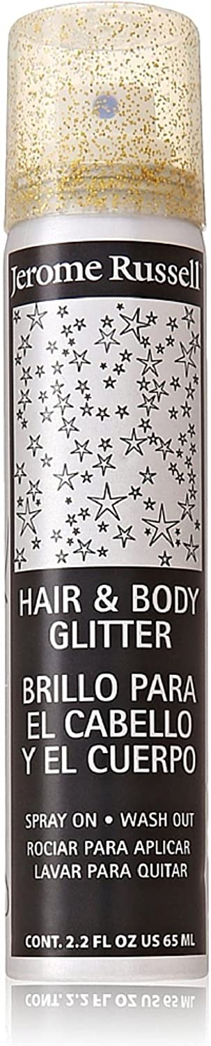 Jerome Russell Hair and Body Glitter Spray, Gold 2.2 oz (Pack of 2) J RUSSELL