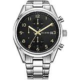 BUREI Herren Armbanduhr Saphirglas Quarz Uhren Analog Uhr Edelstahl Armband elegante Herrenuhr mit Datum BM-7005