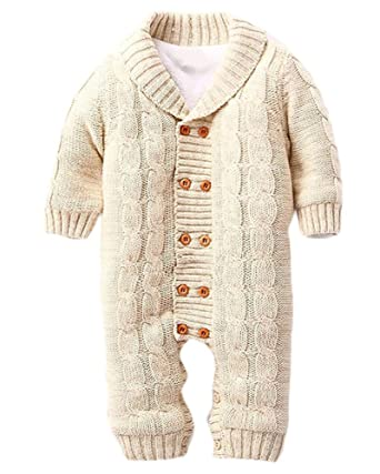 972afaa828ef Minetom® Baby Girl Boy Autumn Winter Knitted Romper Warm Toddler ...
