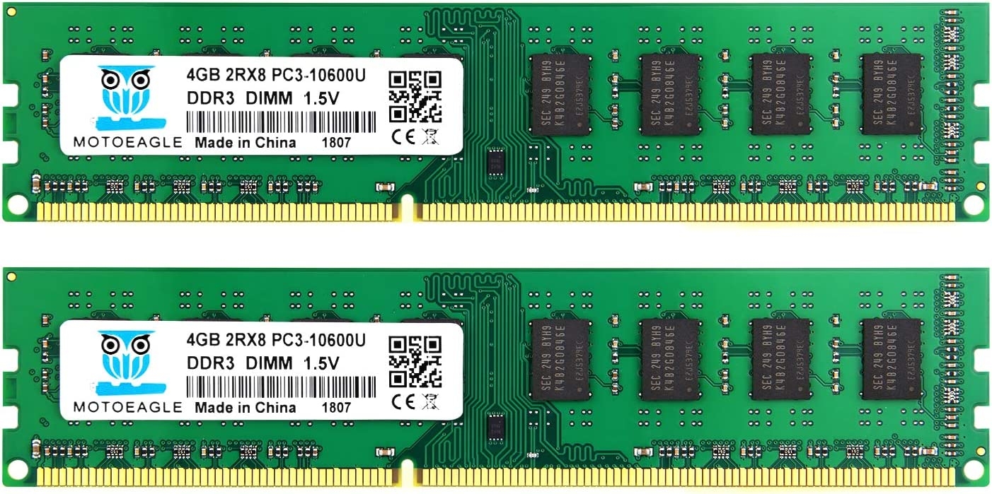 Motoeagle 8GB Kit (2X4GB) DDR3 1333MHz DIMM PC3-10600 PC3-10600U 2RX8 CL9 1.5V 240-Pin Non-ECC Unbuffered Desktop Memory RAM Module Compatible with Intel AMD System