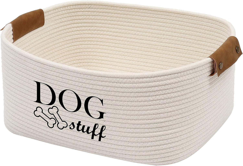 Geyecete Square Dog Toy Basket Storage Cotton Rope Storage Basket Pet/Pet Toy and Accessory Storage Bin Doy Toy Box-Beige