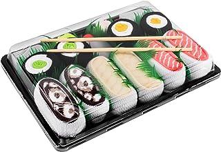SUSHI SOCKS BOX - 5 paia di CALZINI SUSHI: Salmone Butterfish Octopus Cetriolo Oshinko Maki, Idea REGALO Divertente, Calze fantasia di COTONE|per Donna e Uomo, Certificato OEKO-TEX, Prodotto in Europa