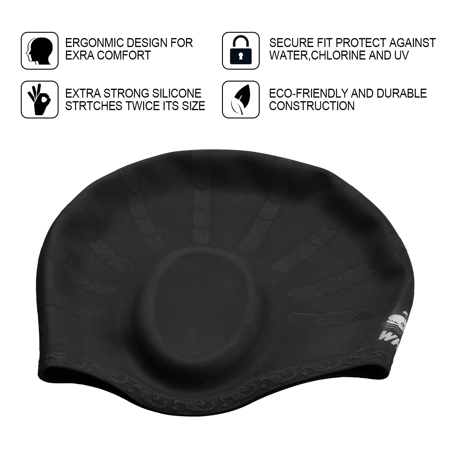 Cover Ears Swim Caps for Long Hair 100% Silicone Swimming Hat for Unisex Adult KIds Reduce Water Intake Makes Your Hair Clean(black)