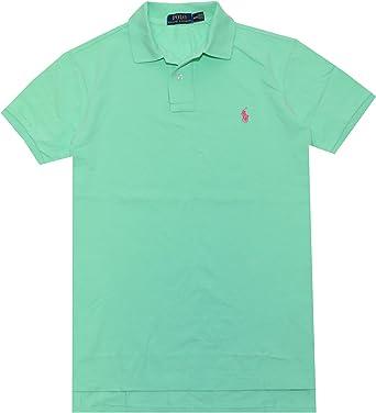 Polo Ralph Lauren hombres Classic Fit Pony Logo camiseta (tamaño mediano, Tyler – verde/rosa Pony)