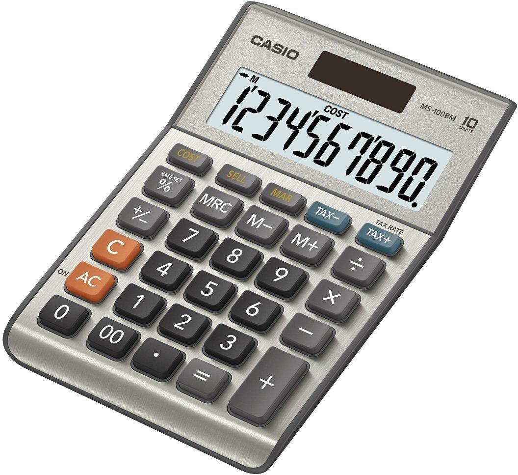 CASIO MS-100BM calcolatrice da tavolo - Display a 10 cifre, calcolo profitto, calcolo imposte