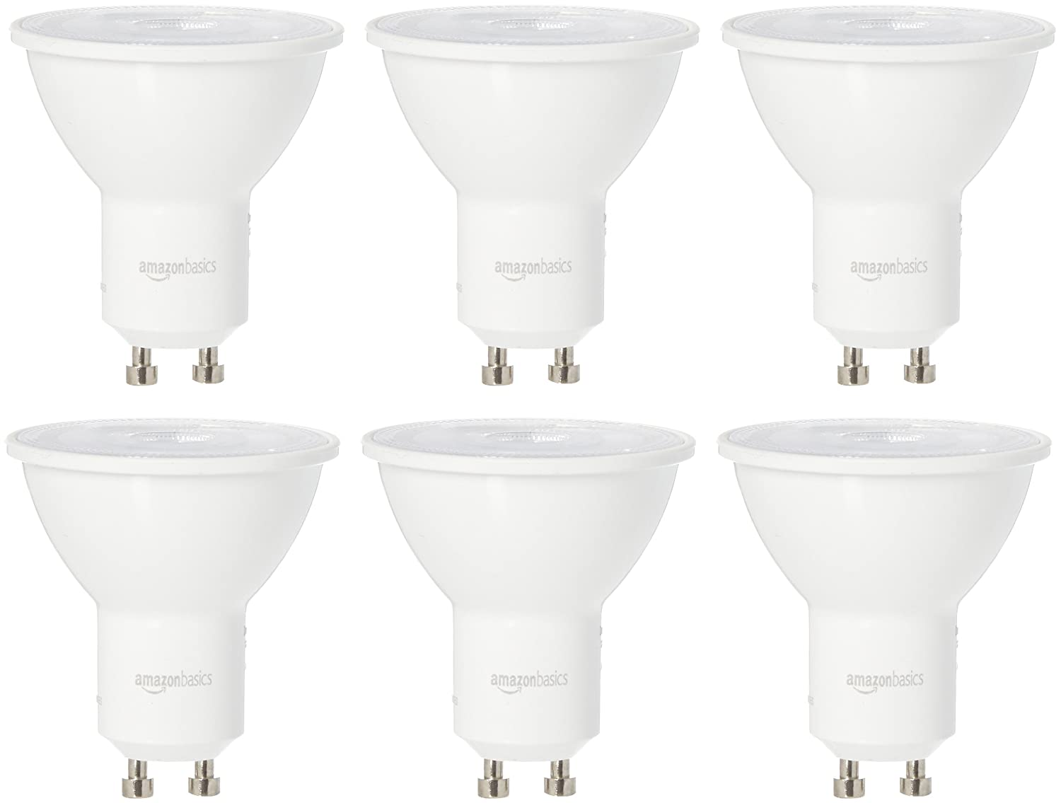 AmazonBasics 50 Watt Equivalent, Bright White, Dimmable, GU10 LED Light Bulb | 6-Pack