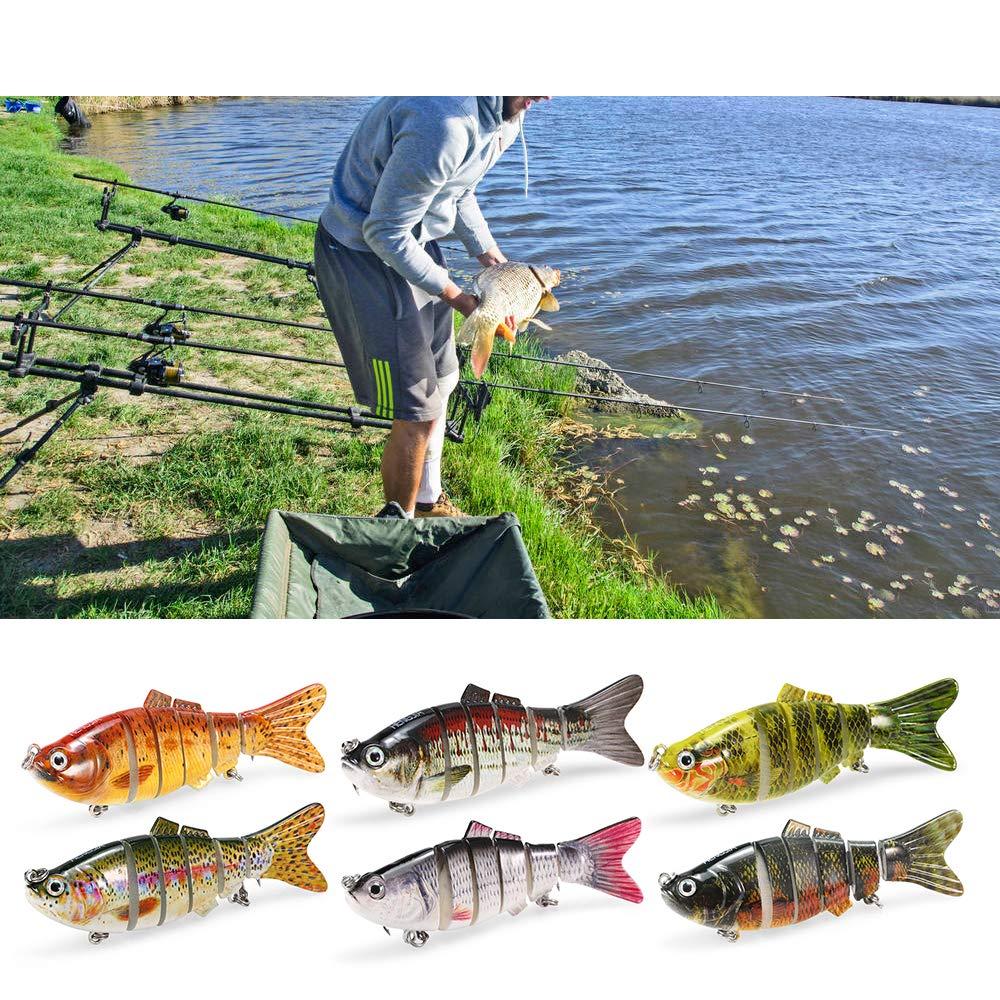 Lixada Fishing Bass Lures Multi Jointed Topwater Life-Like Trout Swimbait Hard CrankBaits Hard Bait Fish Treble Hook