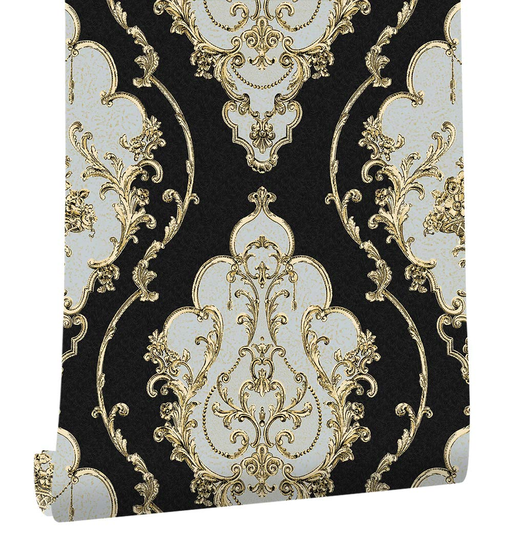 HaokHome 360207 Luxury Heavy Texture Victorian Damask Wallpaper Black/Gold/Brown/Silver for Home Accent Wall 20.8''x 31ft